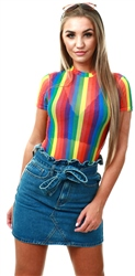Daisy St Rainbow Short Sleeve Mesh Bodysuit
