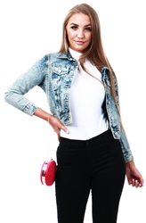 Urban Bliss Light Blue Bleach Short Denim Jacket