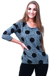 Only Grey / Dark Grey Melange Printed 3/4 Sleeved Top