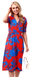 Influence Blue Red Floral Print Elastic Front Flared Sleeve Midi Dress