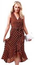 Ax Paris Brown Polka Dot Wrap Dress