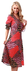 Missi Lond Red Floral Pattern Midi Dress