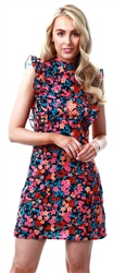 Parisian Floral Frilled Sleeveless Short Dress