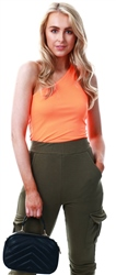 Parisian Orange One Shoulder Sleeveless Bodysuit