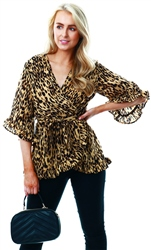 Ax Paris Stone Animal Print Wrap Top