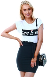 Parisian Black Paperbag Waist Self Belt Mini Skirt