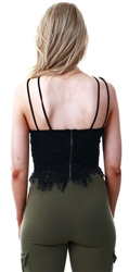 Influence Black Lace Cami Strap Crop Top