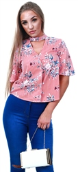 Style London Red Floral Pattern Short Sleeve Shirt