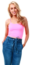 Parisian Pink Rib Knit Crop Top