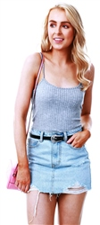 Parisian Grey Cami Rib Knit Crop Top