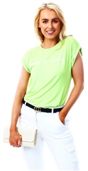 Parisian Lime Green Happy Go Lucky Printed Tee