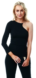 Ax Paris Black One Shoulder Bodysuit With Gold Detailing