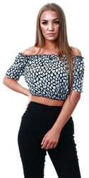 Missi Lond Black Floral Bardot Crop Top
