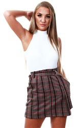 Brave Soul Red Check Belted Mini Skirt
