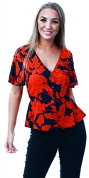 Brave Soul Navy Orange Floral Pattern Short Sleeve Top