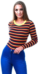Glamorous Navy/Red/Yellow Striped Long Sleeve Bodysuit