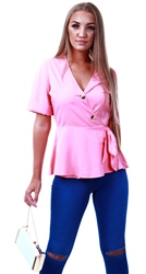 Influence Geranium Pink Wrap Top With Peplum Hem And Buttons