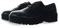 Black Patent Lace Up Shoe by Spot On