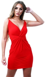 Ax Paris Red V Neck Strappy Mini Dress