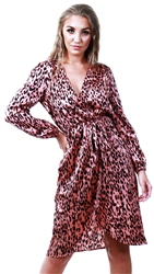 Ax Paris Pink Leopard Print V-Neck Wrap Dress