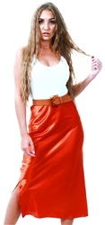 Ax Paris Rust Satin Midi Skirt