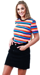 Daisy St Rainbow Stripe Heart Short Sleeve Tee