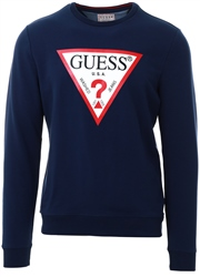 Guess Blue/Navy Triangle Logo Front Sweater