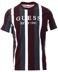 Guess Red/White Striped T-Shirt With Logo