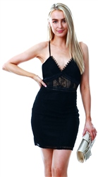 Parisian Black Lace Sheer Panel Detail Cami Mini Dress