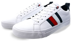 Hilfiger Denim Ybr White Flag Detail Leather Trainers