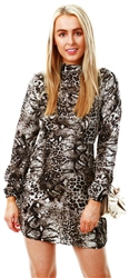 Ax Paris Animal Print Frill Detail Dress