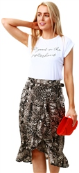 Ax Paris Grey Animal Print Wrap Frill Midi Skirt