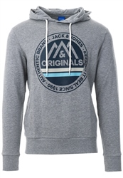 Jack & Jones Light Grey Front Logo Print Hoodie