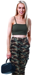 Parisian Khaki Strappy Crop Top