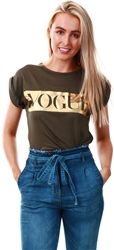 Parisian Khaki Vogue Print Short Sleeve T-Shirt