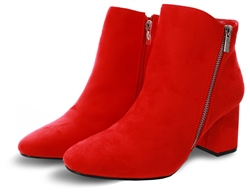 No Doubt Red Suede Block Heel Boot