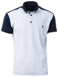 Alex & Turner Navy Pattern Short Sleeve Polo Shirt