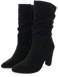 Dv8 Black Ruched Mid Calf Boot