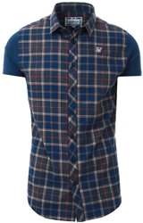 Siksilk Navy/Grey/Beige S/S Flannel Standard Shirt