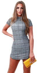 Ax Paris Check Print High Neck Bodycon Dress