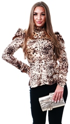 Ax Paris Animal Print High Neck Top
