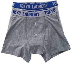 Tokyo Laundry Grey /Blue 2 Pack Boxers