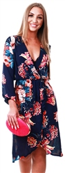 Navy Floral Print V-Neck Wrap Dress by Ax Paris