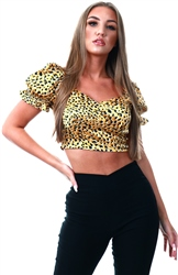 Qed Mustard Animal Print Milkmaid Top