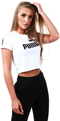 Puma White Amplified Logo Fitted Women's Tee
