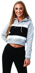 Gym King Grey/Black Pollo Crop Hoodie