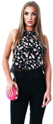 Glamorous Black Floral Print Lace Trim Top