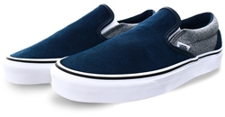 Vans Dress Blue Suede Classic Slip-On Shoes