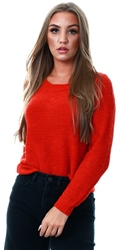 Only Red Texture Knitted Pullover