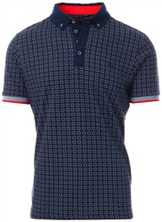 Bewley & Ritch Navy Patterned Polo Shirt - Wak
